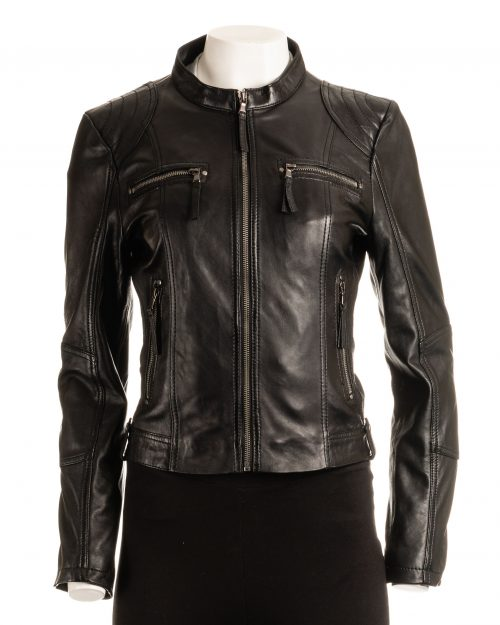 Ladies Black Biker Style Leather Jacket