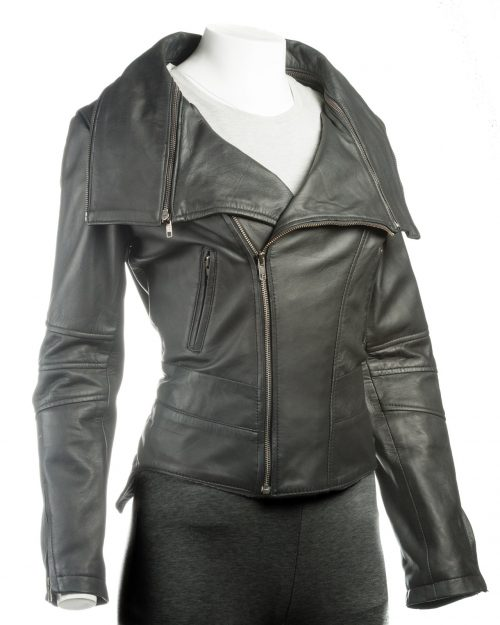 Ladies Black Dual Collar Biker Style Leather Jacket