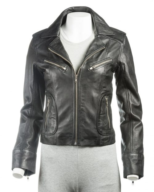 Ladies Black Short Biker Style Leather Jacket