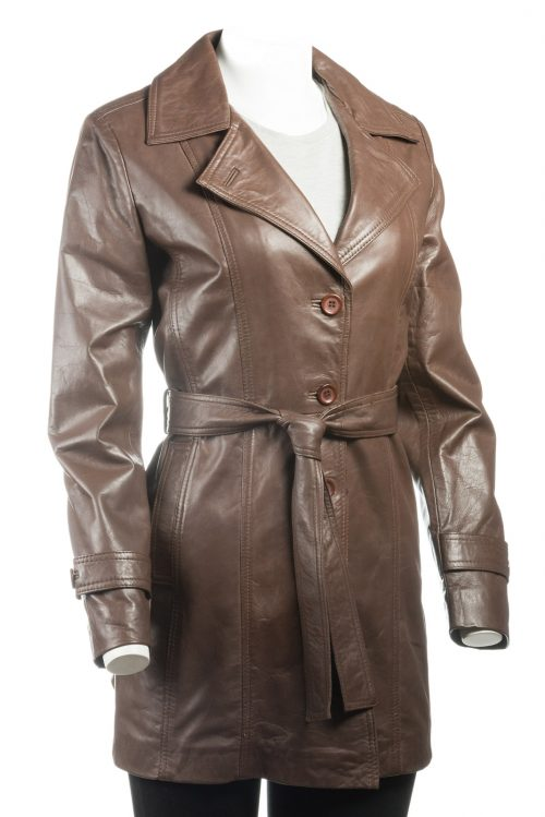 Ladies Brown Mackintosh Style Leather Coat