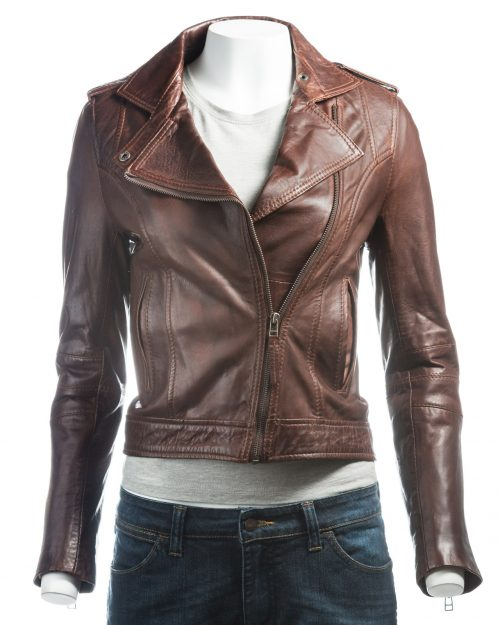 Ladies Brown Short And Simple Asymmetric Biker Style Leather Jacket