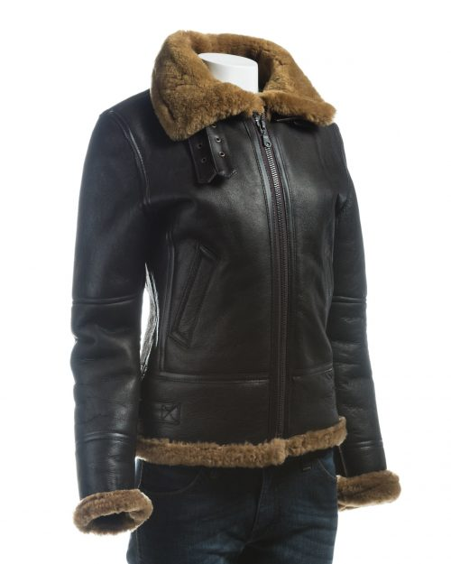 Ladies Brown and Ginger Vertical Zip Sheepskin Flight Jacket