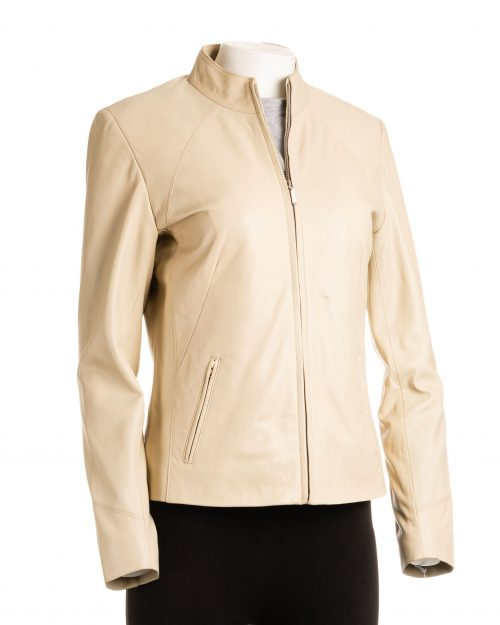 Ladies Cream Beige Plain Short Zipped Leather Jacket