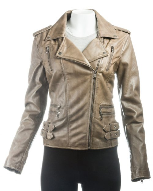 Ladies Olive Buckled Asymmetric Biker Style Leather Jacket