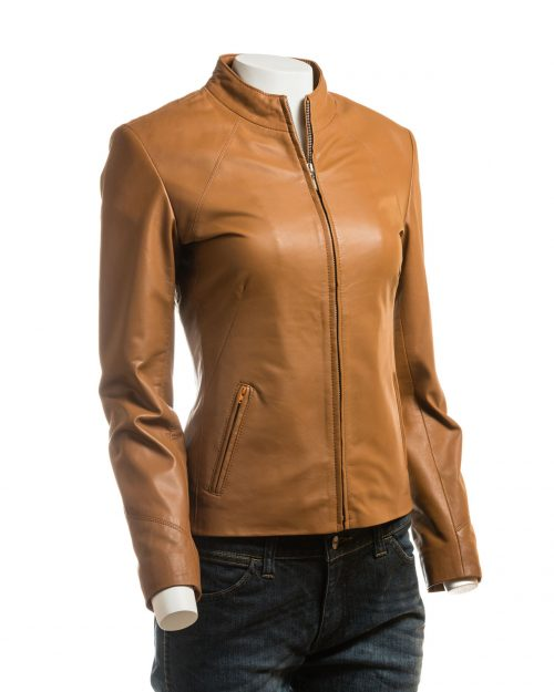 Ladies Tan Plain Short Zipped Leather Jacket