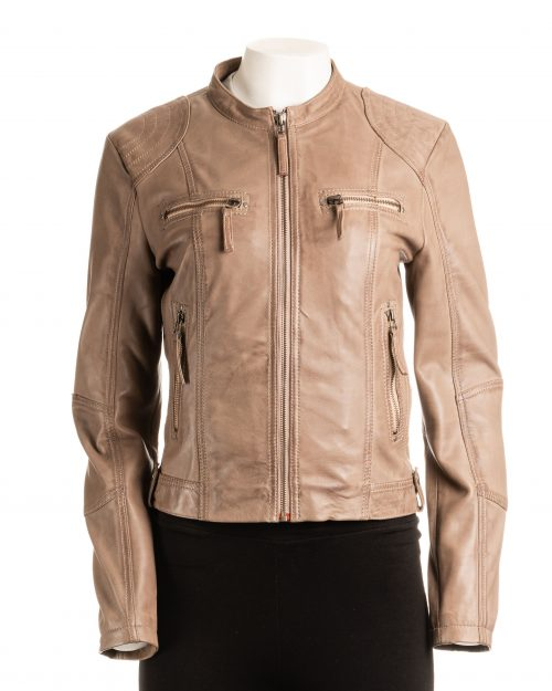 Ladies Taupe Biker Style Leather Jacket