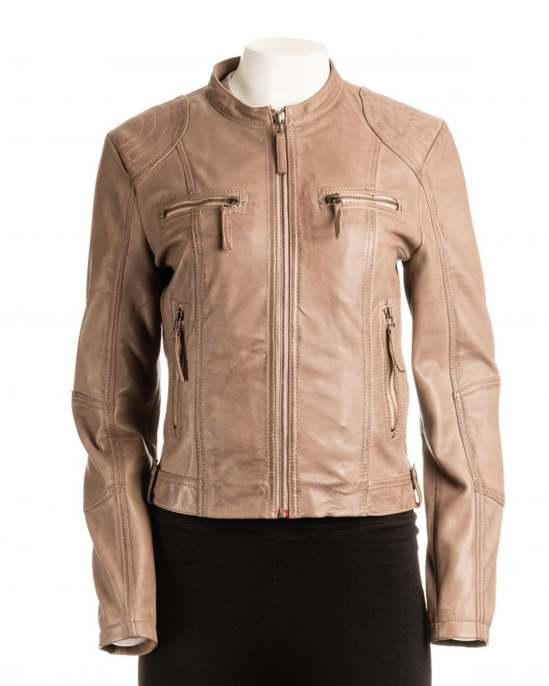Ladies Taupe Biker Style Leather Jacket