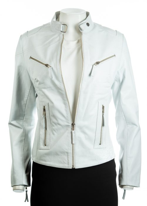 Ladies White Slim Fit Biker Style Leather Jacket