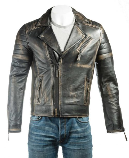 Men's Antique Black Vintage Look Biker Style Leather Jacket