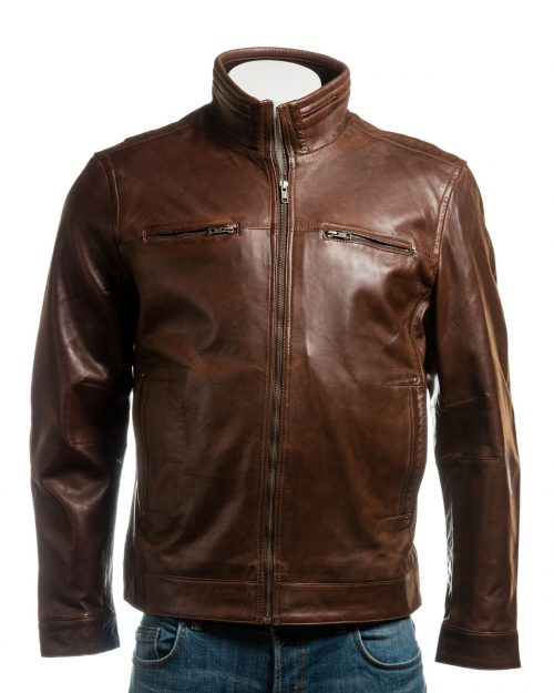 Men's Brown Funnel Neck Leather Jacket