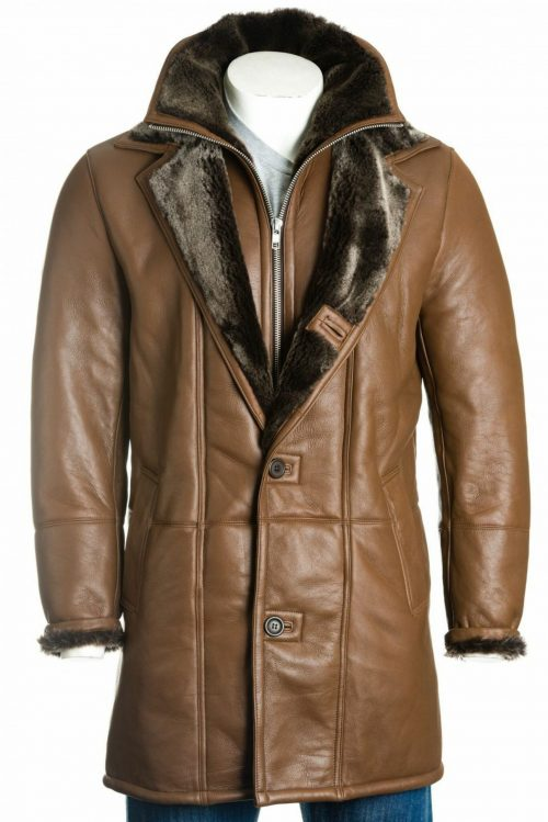 Men's Brown Sheepskin Shearling Coat