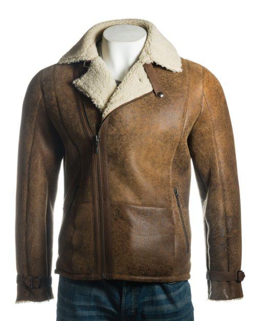 Men's Shearling Sheepskin Biker Style Jacket