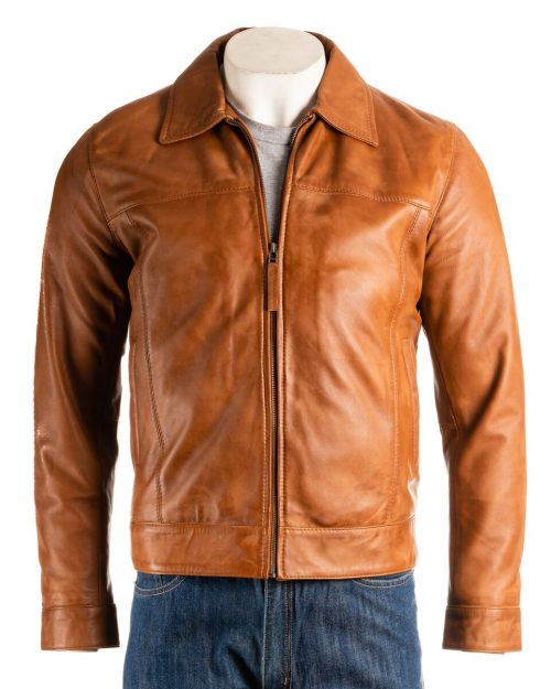Mens Tan Collared Straightzip Leather Jacket