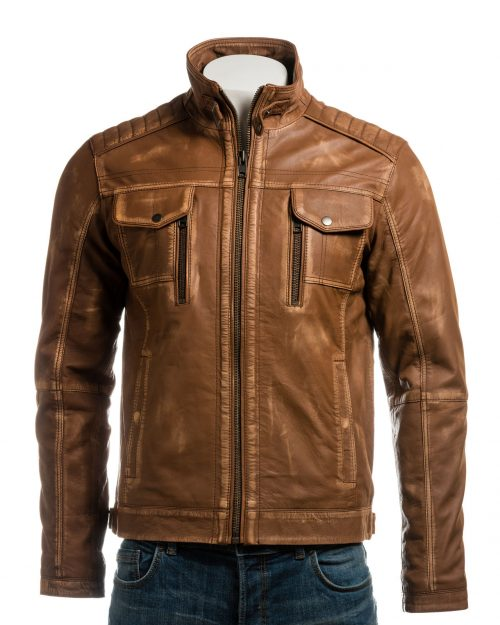 Men's Tan Vintage Biker Style Leather Jacket