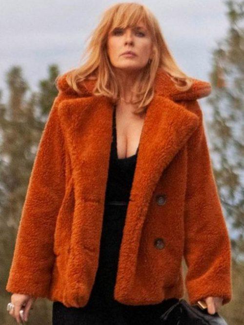 kelly-reilly-yellowstone-orange-fur-jacket