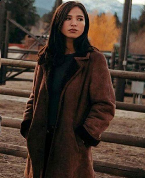 yellowstone-monica-dutton-brown-shearling-coat